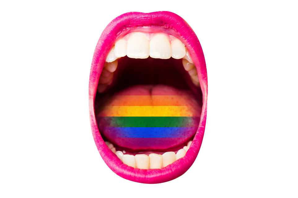 colorful lips and rainbow pride tonge