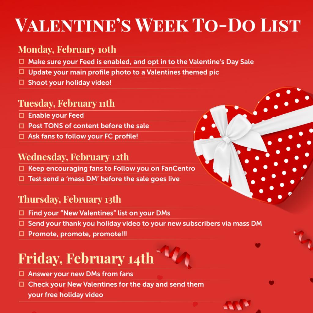 My FanCentro Valentine's Checklist